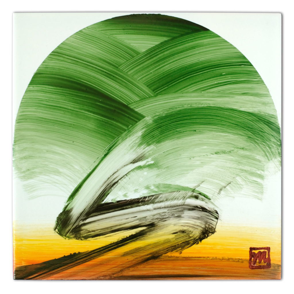 painting on ceramic tile inspired by bonsai tree