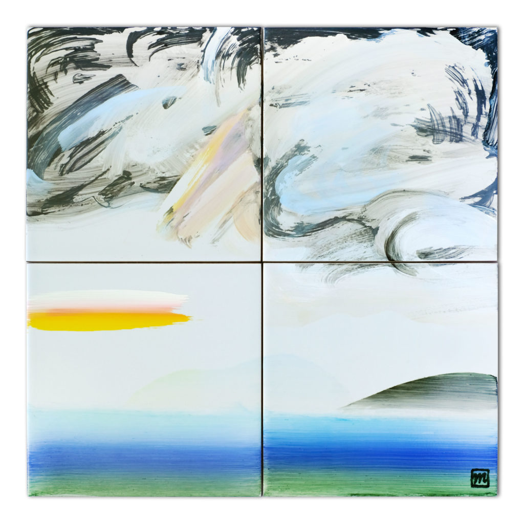 painting on ceramic tile inspired by the Japanese landscape