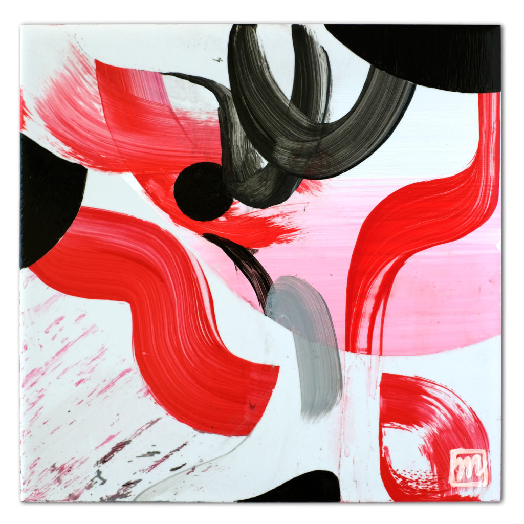 painting on ceramic tile inspired by the Kabuki theater of Japan
